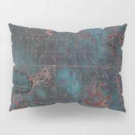 Antique Map Teal Blue and Copper Pillow Sham