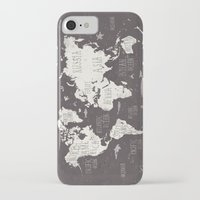 map iPhone & iPod Cases featuring The World Map by Mike Koubou