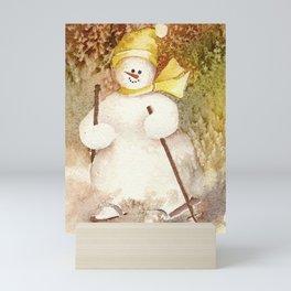 Snow Girl hits the slopes Mini Art Print