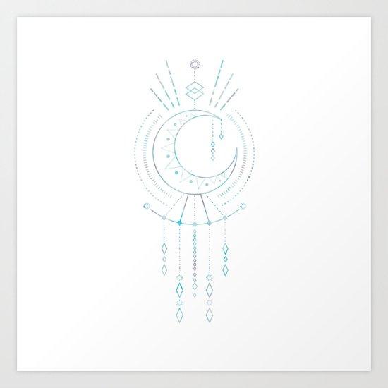Mandala Crescent Moon Art Print