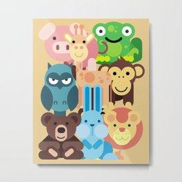 Zoo Animals Farm Animals Kids Room Decor Nursery Decor Baby Metal Print