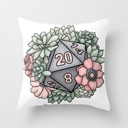 Succulent D20 Tabletop RPG Gaming Dice Throw Pillow