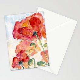 Tangerine Orange Poppy field WaterColor by CheyAnne Sexton Stationery Cards