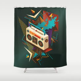Bust Out The Jams Retro 80s Boombox Splash Shower Curtain
