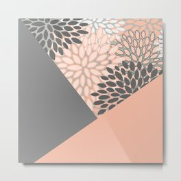 Floral Prints, Coral and Gray, block color art Metal Print