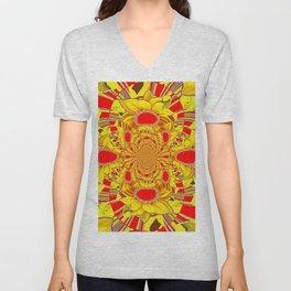 RED & YELLOW GEOMETRICAL-OPTICAL ART Unisex V-Neck