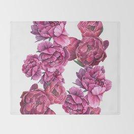Pink Peonies Throw Blanket