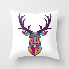 Deer | Geometric Colorful Low Poly Animal Set Throw Pillow