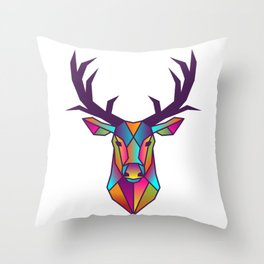 Deer | Geometric Colorful Low Poly Animal Set Throw Pillow