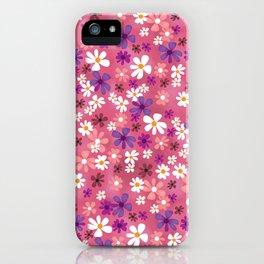 Retro Pink Flowers iPhone Case