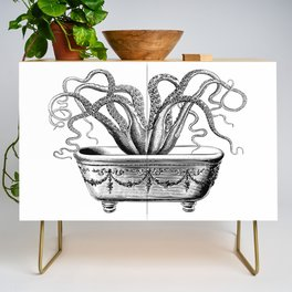 Tentacles in the Tub   Octopus   Black and White Credenza