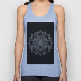 N43 - Moroccan Pure Leather with Silver Moroccan Mandala Artwork by ARTERESTING Unisex Tank Top