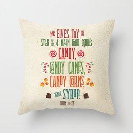 Buddy the Elf! The Four Main Food Groups Throw Pillow