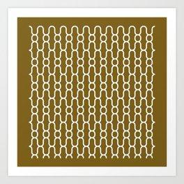 X Snowflake Pattern Gold Art Print