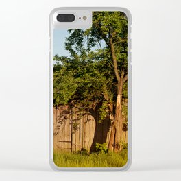 Dilapidated old wooden shack and tree shadow Clear iPhone Case
