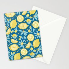 Lemon Pattern Blue Stationery Cards