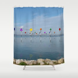 Channel Markers 03 Shower Curtain