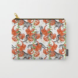 Tigers and Tiger Lilies (White Background) Carry-All Pouch