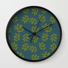 Modern Bold Green Leaves on Blue Wall Clock