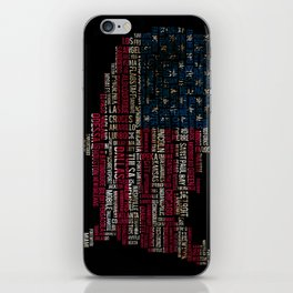 United States Flag Map With Major Cities iPhone Skin