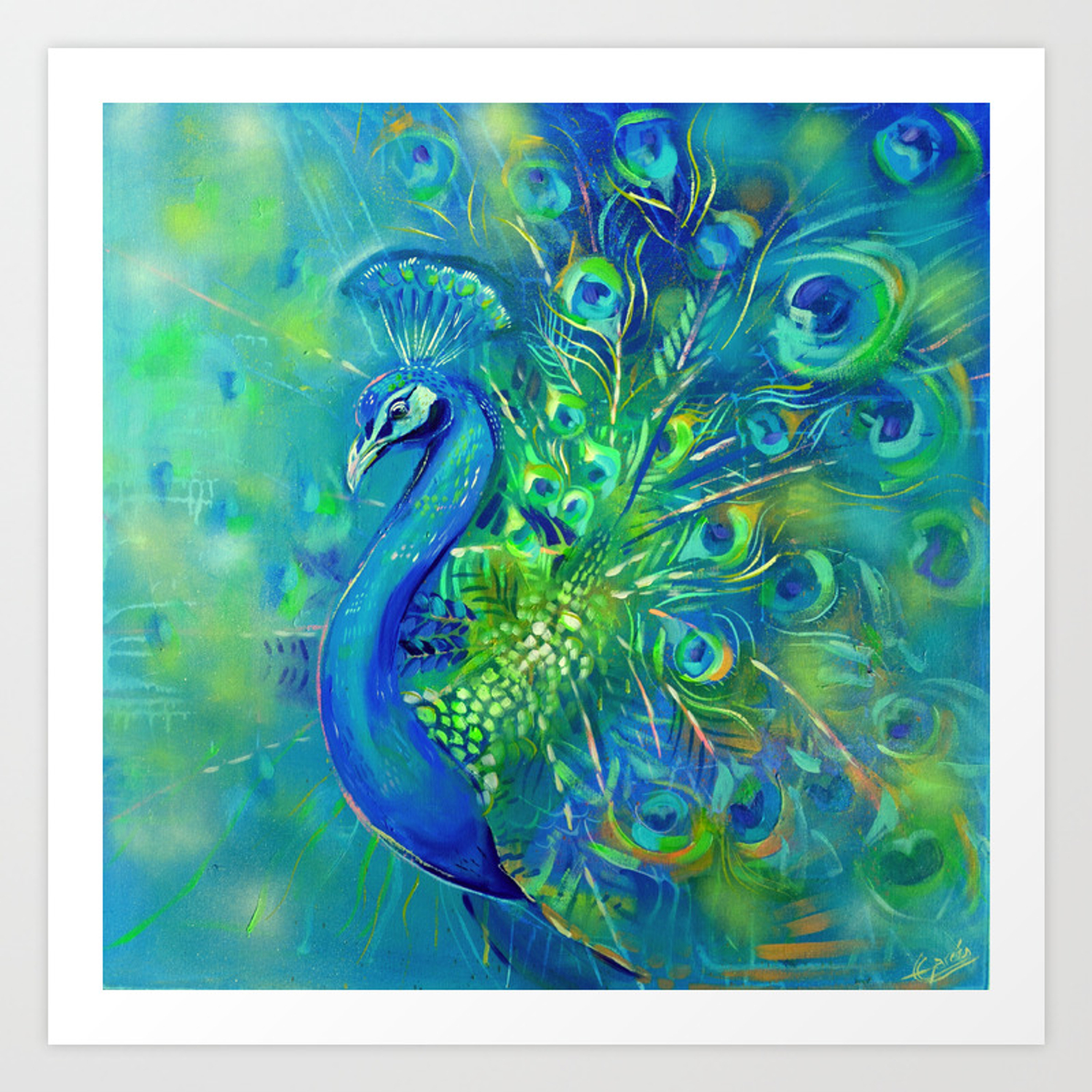 Indian Peacock Art Print By Emilygarces Society6