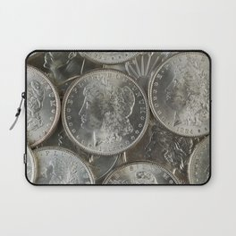 Morgan silver dollars in a pile Laptop Sleeve