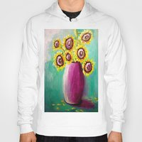 sunflowers Hoodies featuring sunflowers by Michael Anthony Alvarez