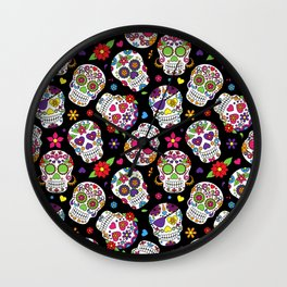 Colorful Sugar Skulls Wall Clock