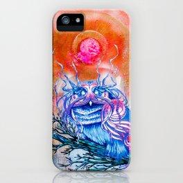 """G0d king owl"" animal art , bird art . Surrealism iPhone Case"