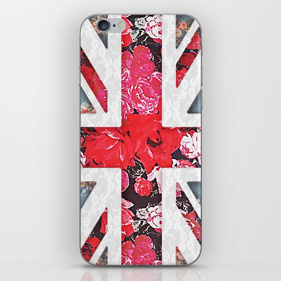 God save the Queen | Elegant girly red floral & lace Union Jack  iPhone & iPod Skin