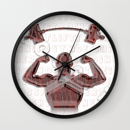 Cross training, red muscle man and barbell Wall Clock