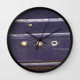 Old purple door Wall Clock