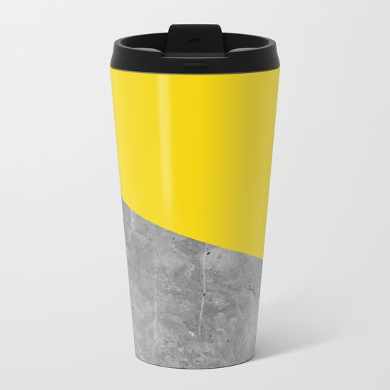 Geometry 101 Vivid Yellow Metal Travel Mug