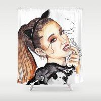 ariana grande Shower Curtains featuring ARIANA G. by CARLOS CASANOVA