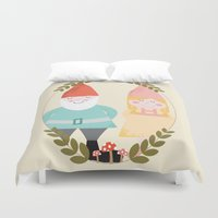 gnome Duvet Covers featuring Gnome Sweet Gnome by Beth Laird