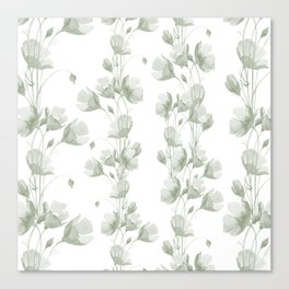 Vintage green white elegant floral illustration Canvas Print