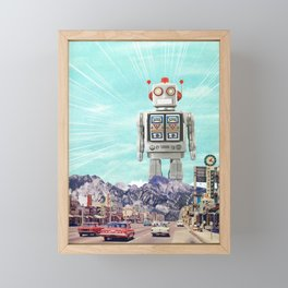 Robot in Town Framed Mini Art Print