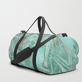 Mint Gem Green Marble Swirl Duffle Bag