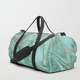 Mint Gem Green Marble Swirl Duffle Bag