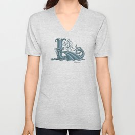"""Dragon Letter L, from """"Dracoserific"""", a font full of Dragons Unisex V-Neck"""