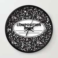 notebook Wall Clocks featuring Composition Notebook College School Student Geek Nerd by Season of Victory