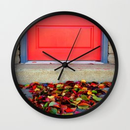 Leaves and Door Wall Clock