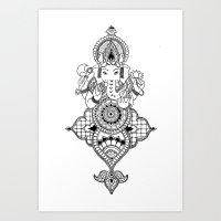 ganesh Art Prints featuring Ganesh by N.I.S.