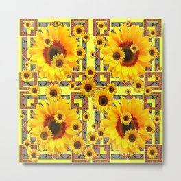 KANSAS WESTERN STYLE YELLOW SUNFLOWER FLORAL Metal Print