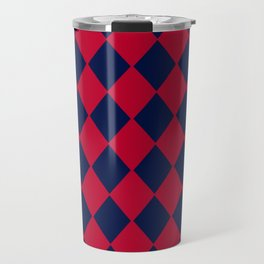 Red blue geometric pattern Travel Mug