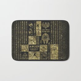 Egyptian  hieroglyphs and symbols gold on black leather Bath Mat