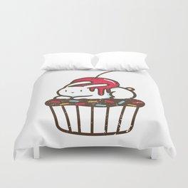 Chubby Bunny on a cupcake Duvet Cover