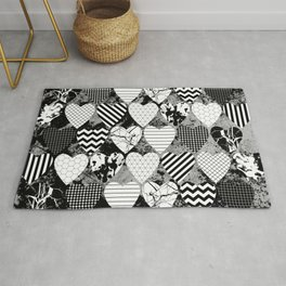 Textured Black And White Hearts - Abstract, geometric pattern Rug