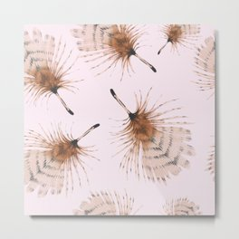 Delicate Brown Feather Seamless Pattern On Pink Metal Print