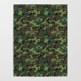 Green and Brown Camouflage Pattern Poster